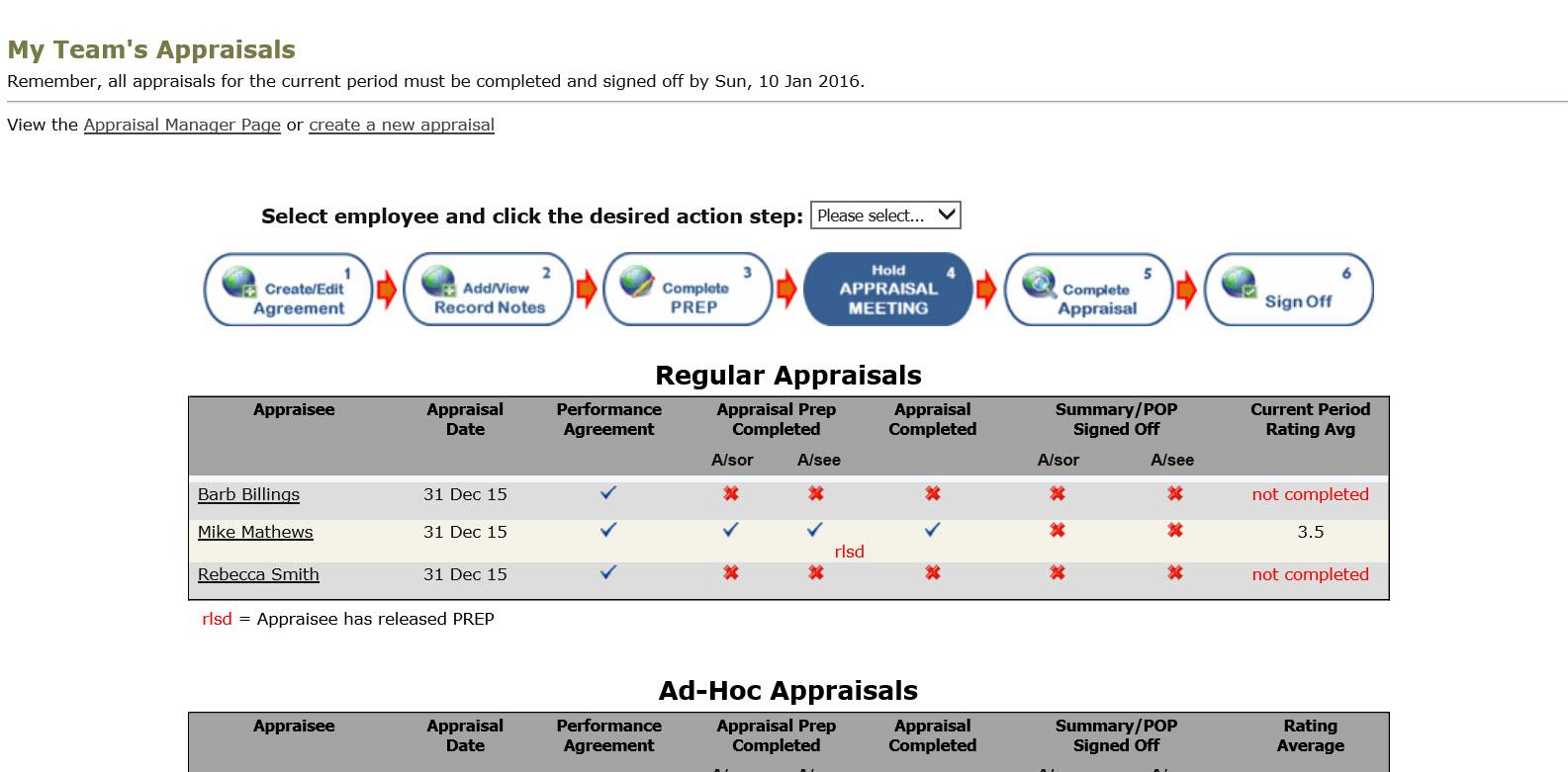 Team appraisal page