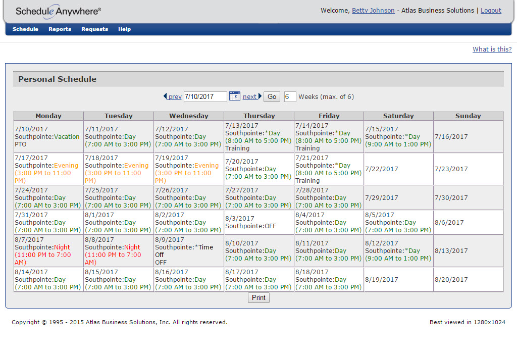 Personal schedule
