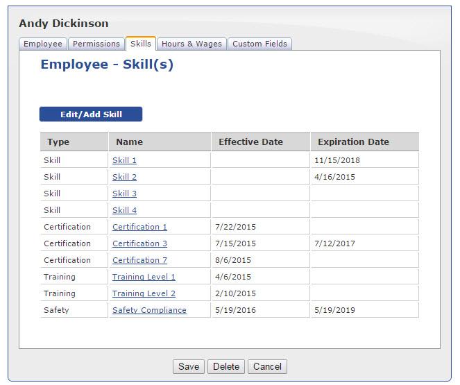 Skills tracking
