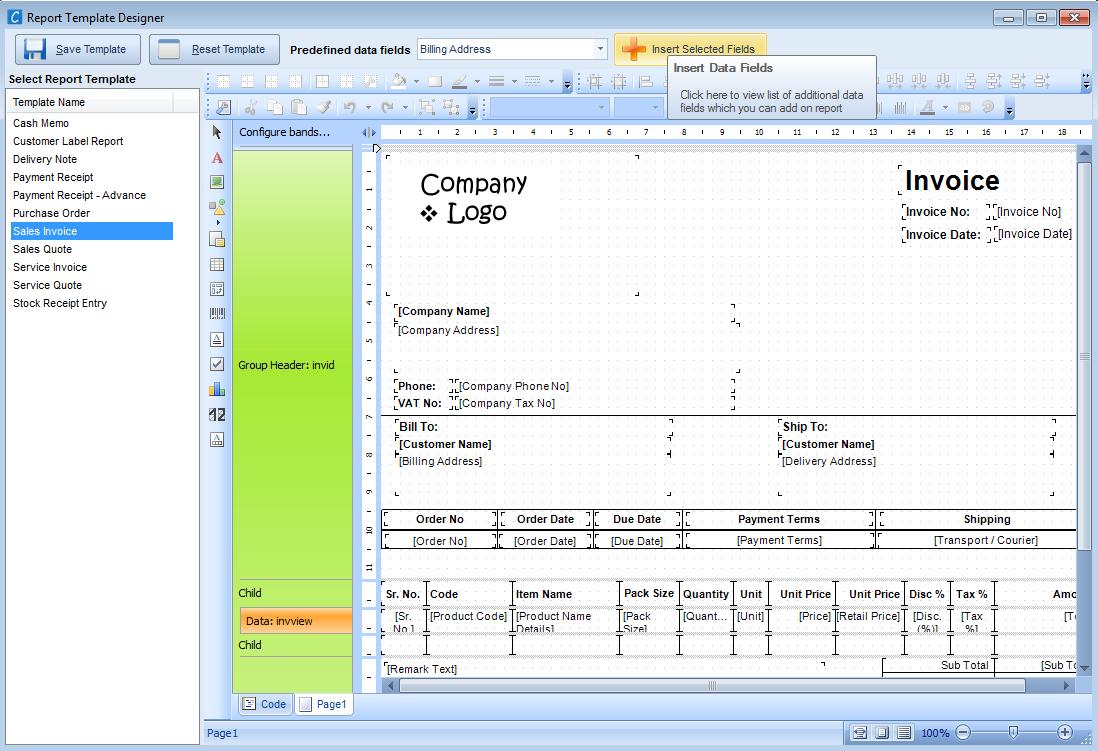 Report template designer