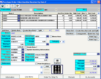 Purchase Order/Merchandise Screen