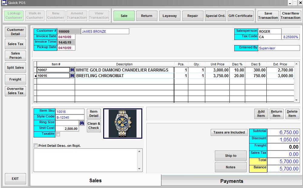 QuickPOS Item Sales Screen