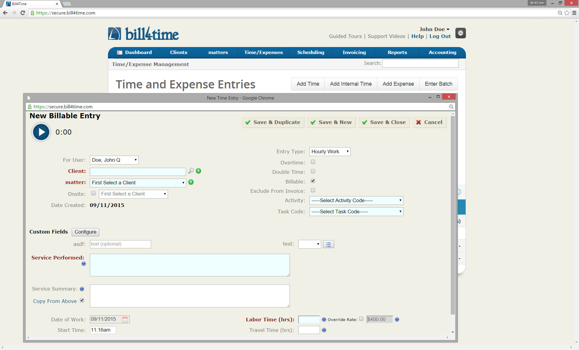 Billable entry
