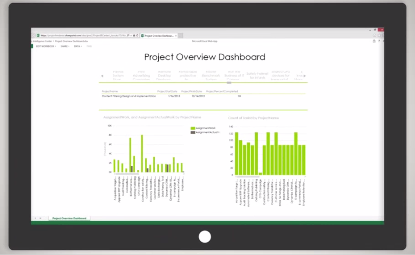 Microsoft Project - Project overview dashboard