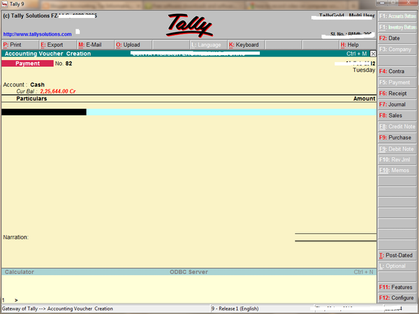 Tally voucher creation