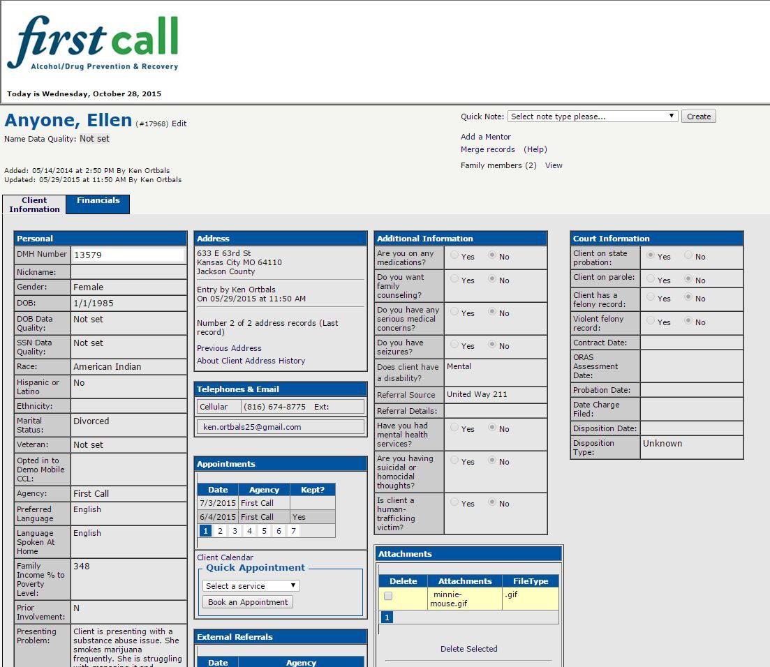 Client information