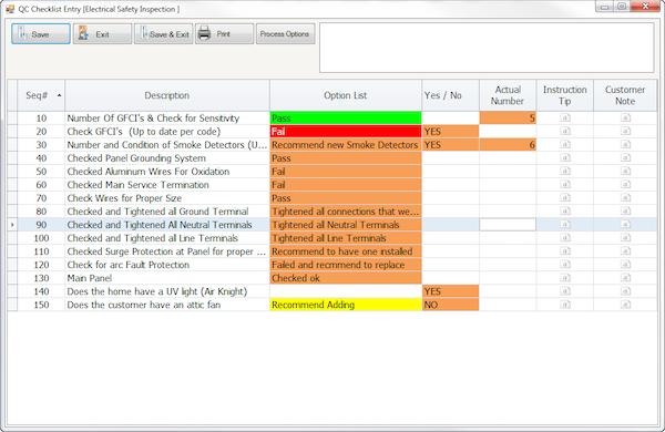 Quality control checklists