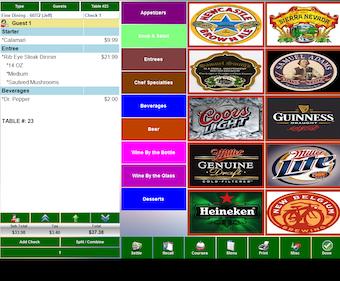 Beverage ordering screen