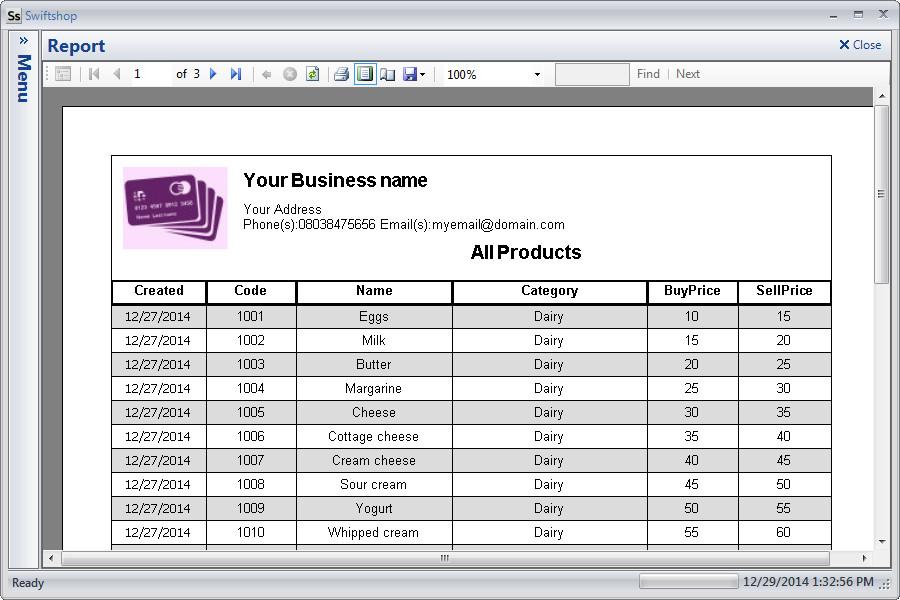 Custom products list