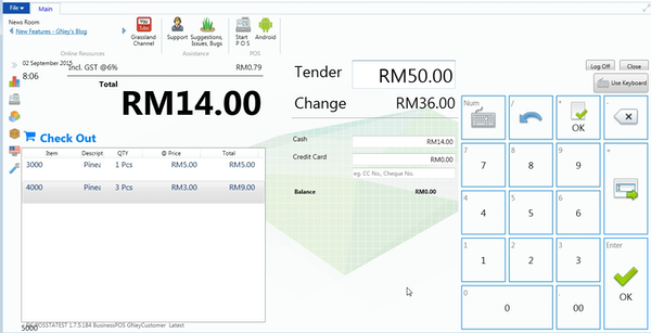 Sales screen