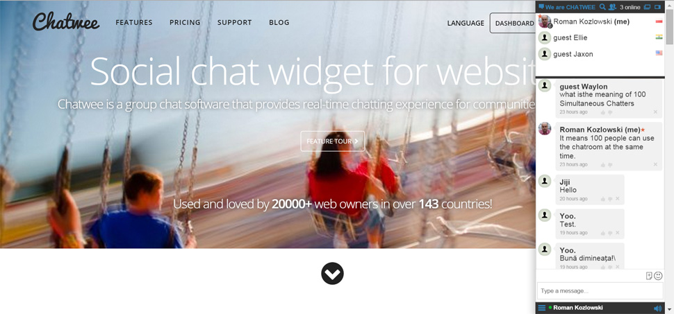 Chatwee Social Chat Widget - Chatroom
