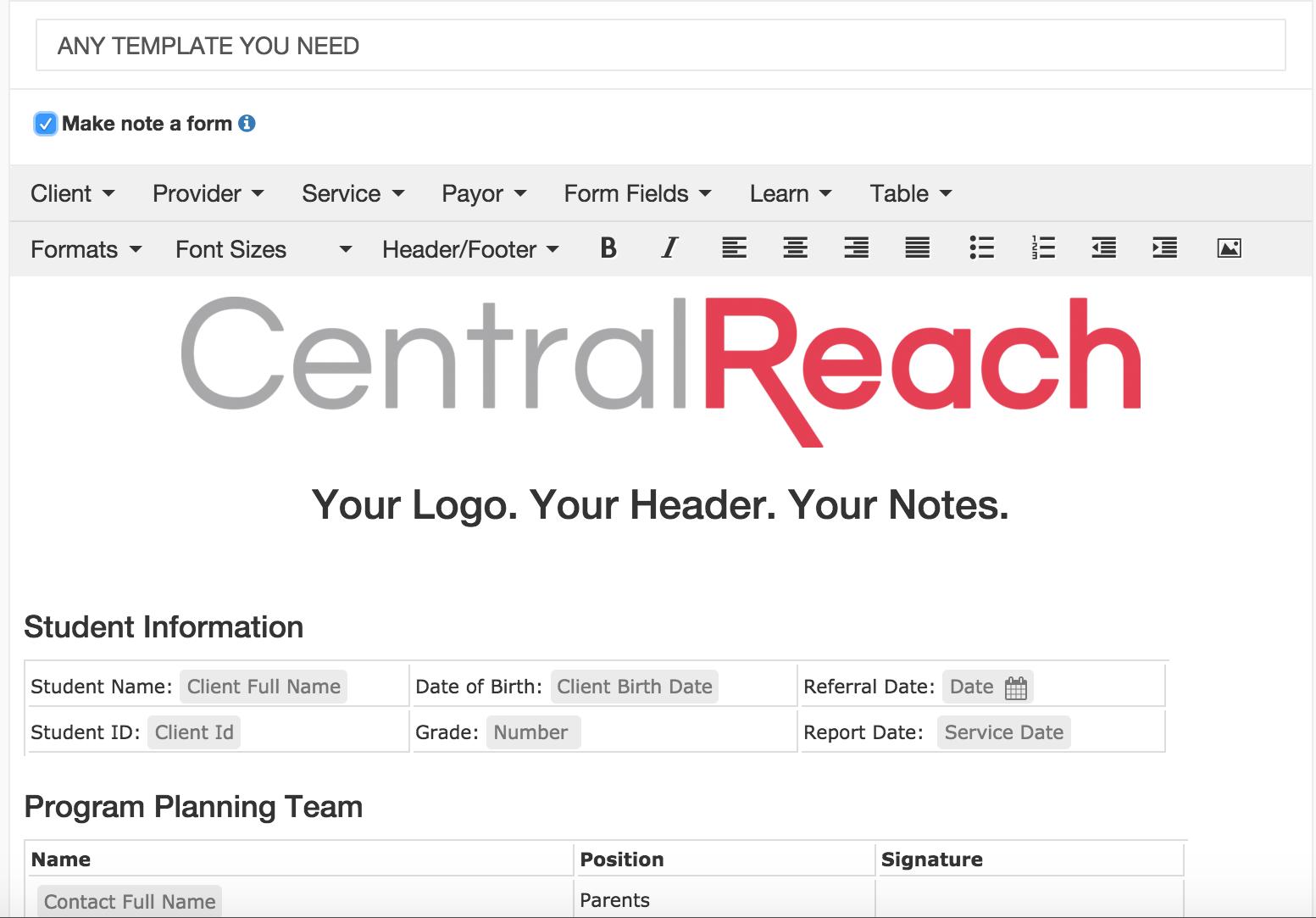 CentralReach - Clinical notes