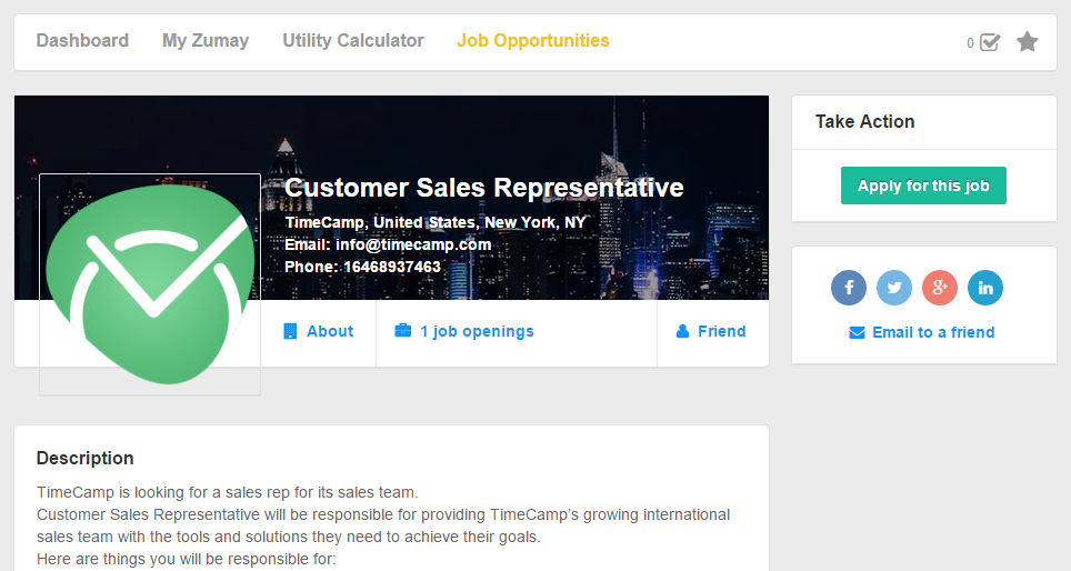 Job listing detail view