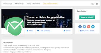 Job listing detail view