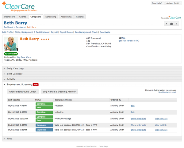 Caregiver profile