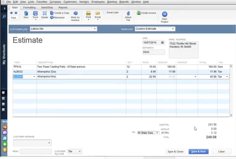 QuickBooks Desktop Pro - Estimate