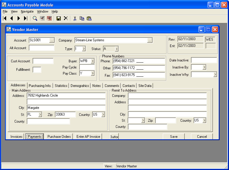 The Accounts Payable module in Stream V.