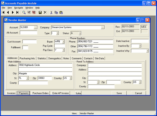 The Accounts Payable module in Stream V.