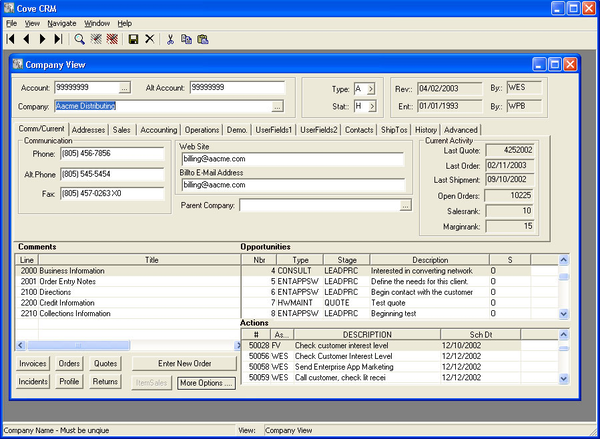 Company view in the Customer Relationship Manager module.