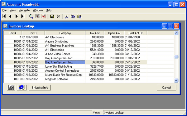 Invoices lookup view in the Accounts Receivable module.