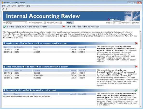 Internal accounting review