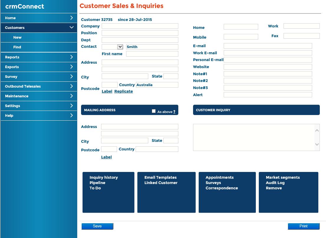 Main Customer Screen