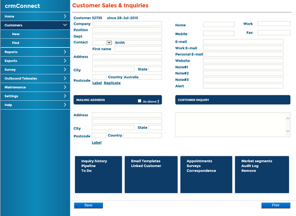 Main Customer Screen