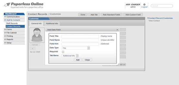 Customize contact record