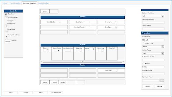 Order entry form