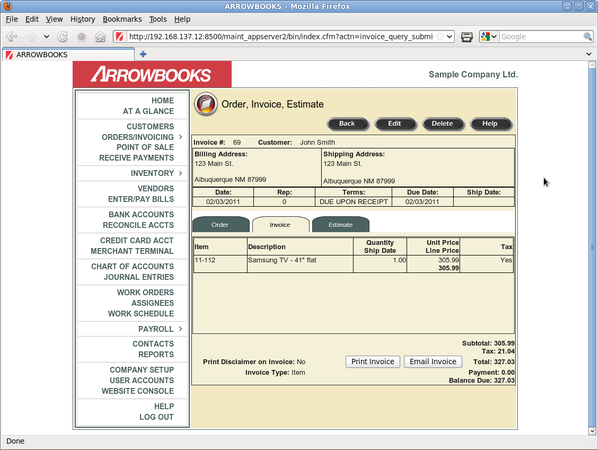 Invoice Page