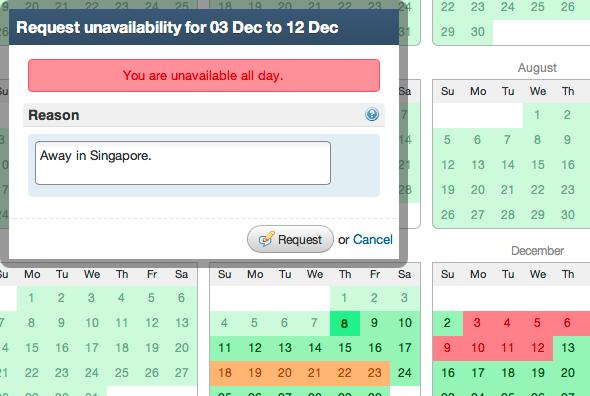 Unavailability requests