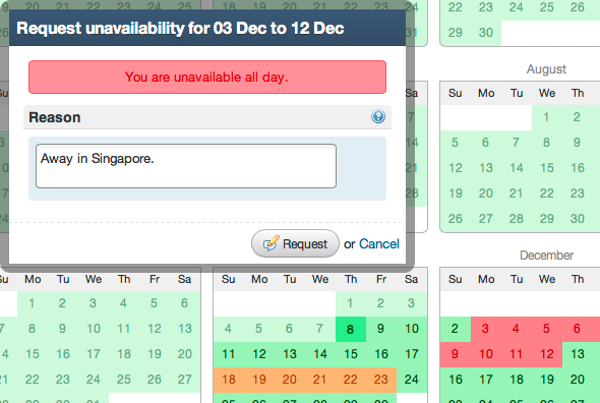 Unavailability requests