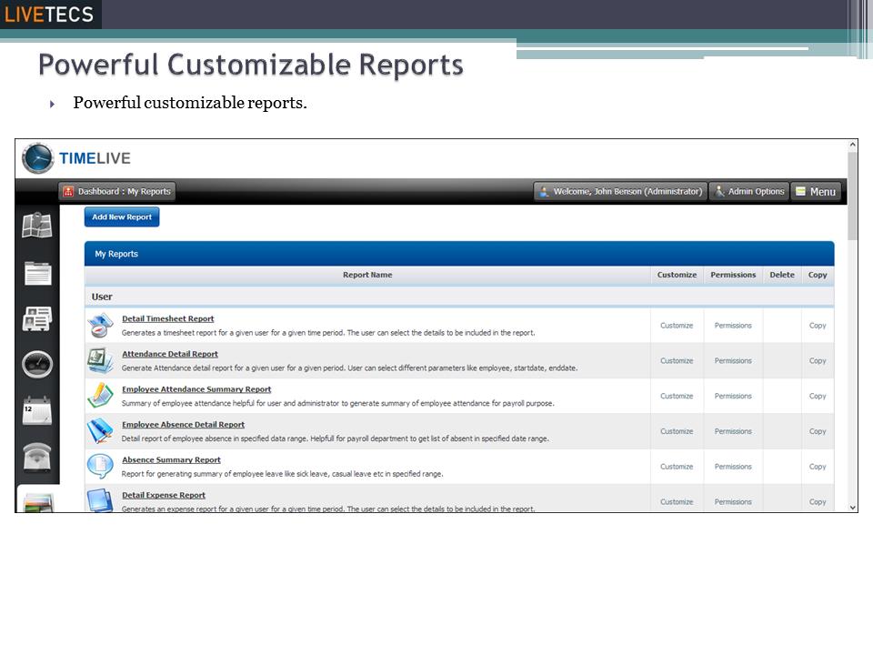 Customizable reports