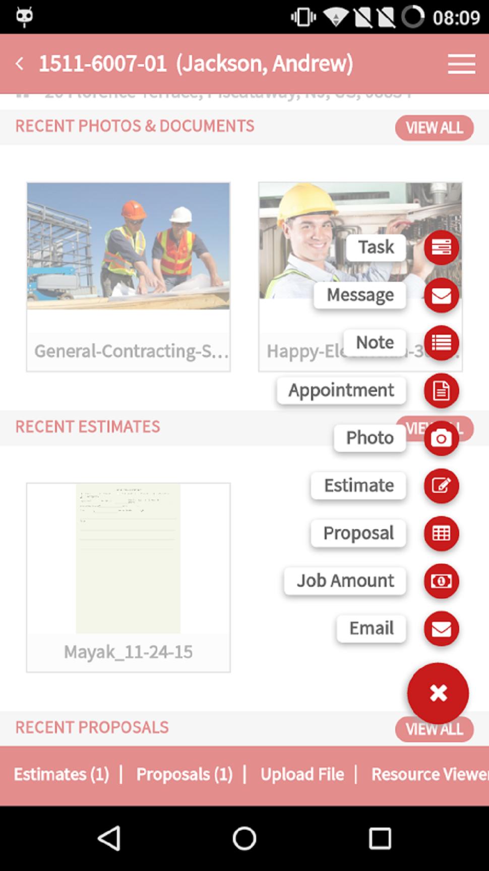 Mobile jobs screen