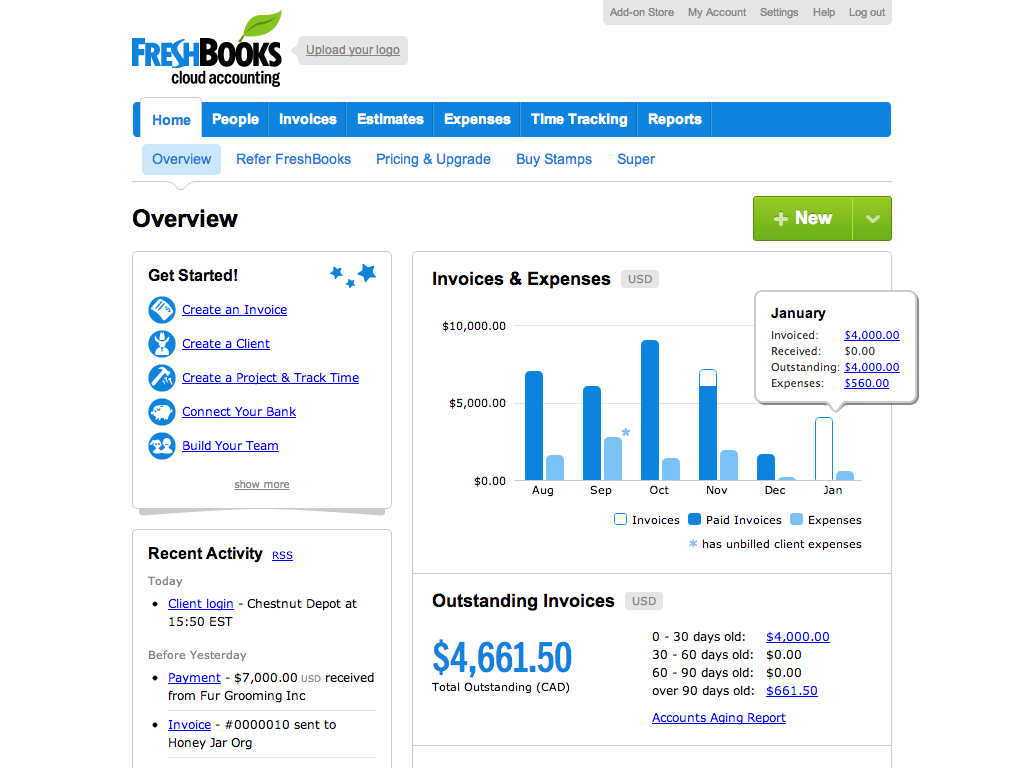 FreshBooks - Home page