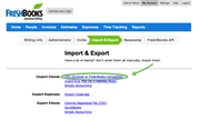 FreshBooks - Import-export