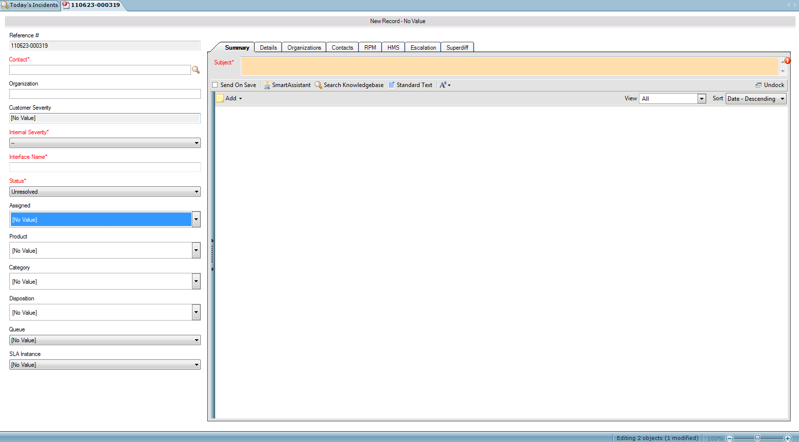 RightNow Incident Workspace