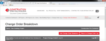 Change order breakdown
