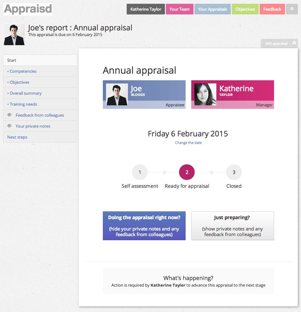 Appraisal start page