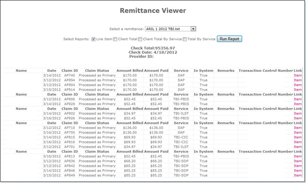 Remittance viewer