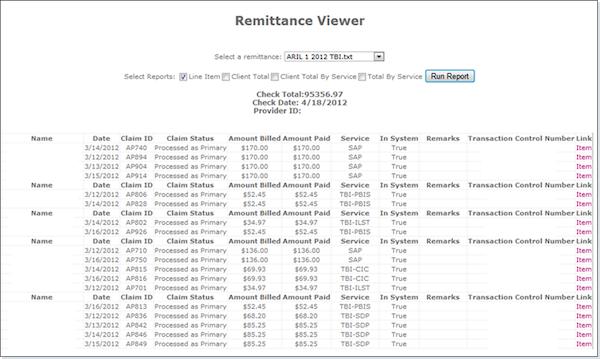 Remittance viewer