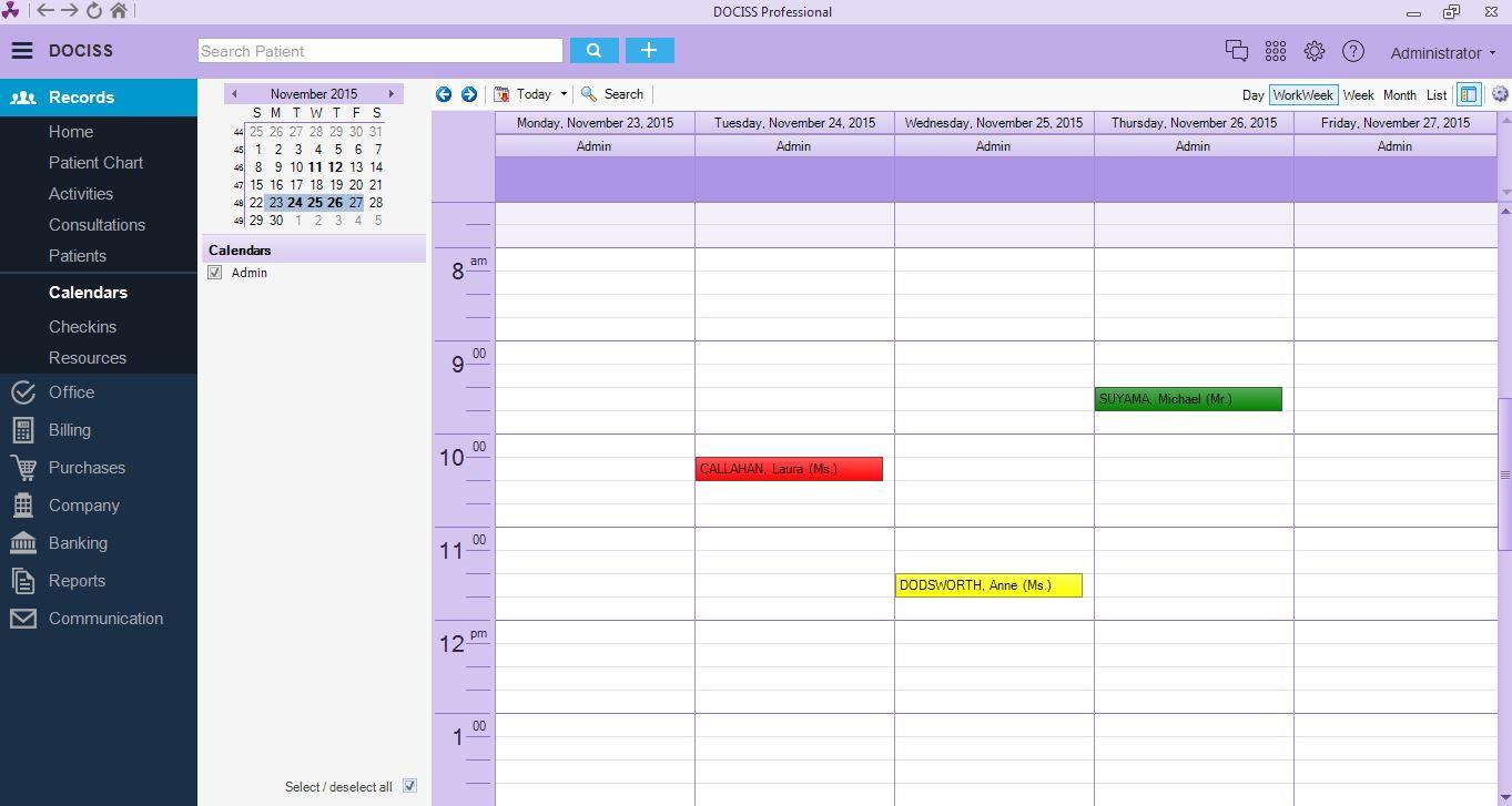 DOCISS EMR - Calendar view