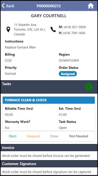 Work order detail