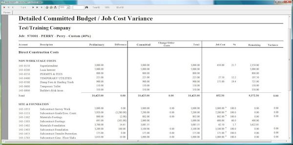 BuildSoft Pro job cost report