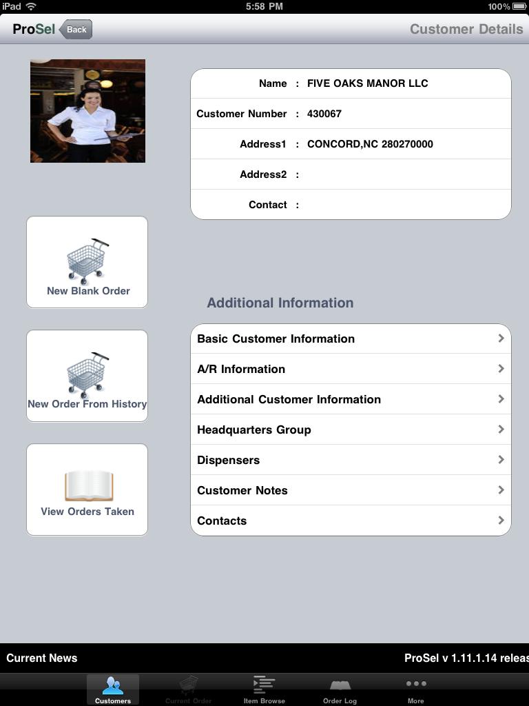 ProSel for iPad - ProSel Customer Detail