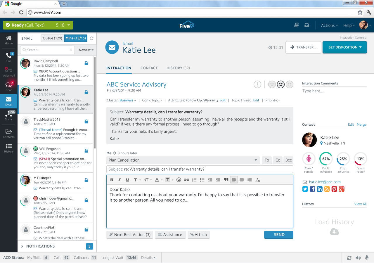 Five9 Cloud Contact Center - Email