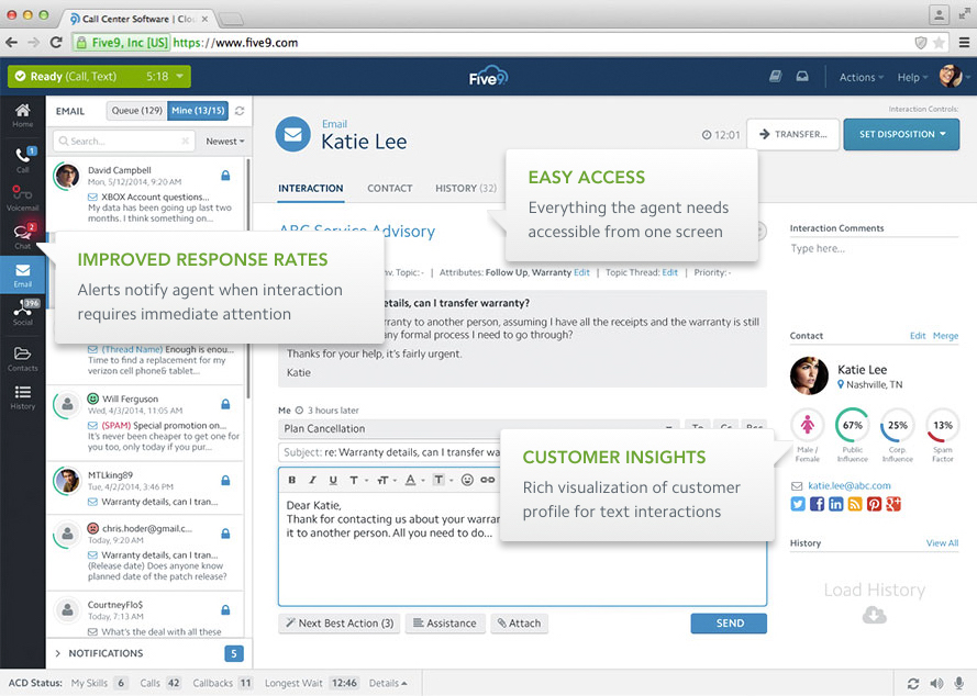 Five9 Cloud Contact Center - Email interactions