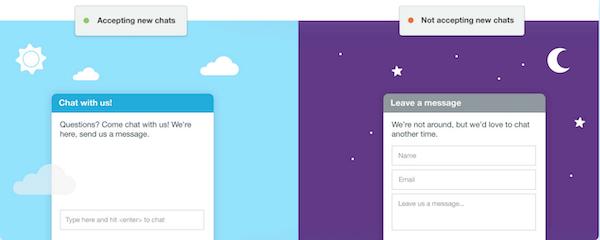 Olark agent availability screenshot