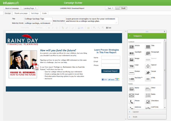 Infusionsoft - Campaign builder