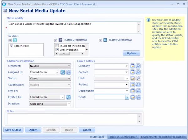 Pivotal CRM - Social media updates